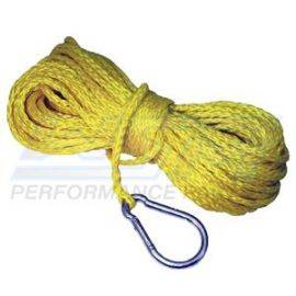Braided Polypropylene 50' Anchor Line with Hook Yellow