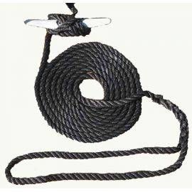 Hand Spliced 3-Strand Twisted Nylon 15' Dock Line Black
