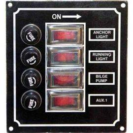 Illuminated Rocker Switch Panel w/Boots & Fuses - 4 Gang