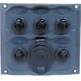 Switch Panel with Power Outlet - 5 Gang