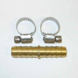 Hose Mender W/ Clamps - 3/8 inch X 3/8 inch