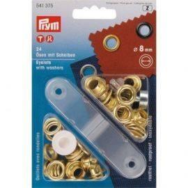 Messingøjer 8mm indvendig 24 stk. i pakken med værktøj