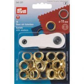 Messingøjer 11mm indvendig 15 stk. i pakken med værktøj