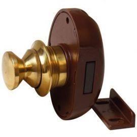 Skabslås messing 16mm med brun lås