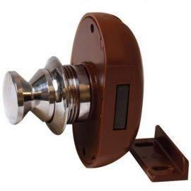 Skabslås forkromet 19mm med brun lås, brug 05.1127+lås