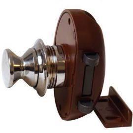 Skabslås forkromet 16mm m/brun klik-luk lås