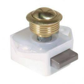 Skabslås messing 16mm med lille hvid lås