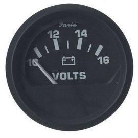 Faria voltmeter 10-16v. ø 53 - euro black