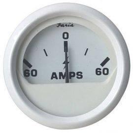 Ampmeter 60-0-60  hvid
