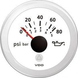 Vdo olietryksmåler 0-5bar, hvid ø52mm