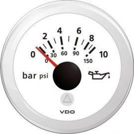 Vdo olietryksmåler 0-10bar hvid ø52mm