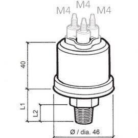 Vdo sensor olie tryk 10 b m-alarm2pol1-8-27nptf 6-24v