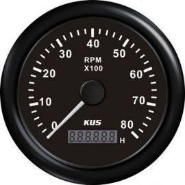 Kus omdr.tæller med timetæller sort benzin 0-8000 1.-10p 12/