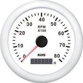 Kus omdr.tæller benzin 0-8000 1.-10p med timet.hvid 12/24V Ø