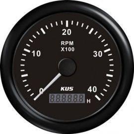 Kus omdr.tæller diesel 0-4000 0.5-250 med time.sort 12/24V Ø