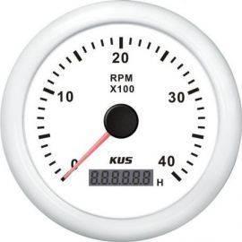 Kus omdr.tæller diesel 0-4000 0.5-250 med time.hvid 12/24V Ø