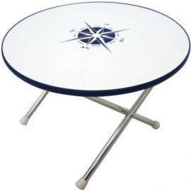Dæksbord rundt med blå kant ø60 cm højde 42 cm