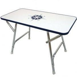 Dæksbord med blå kant 80 x 40 cm højde 54 cm