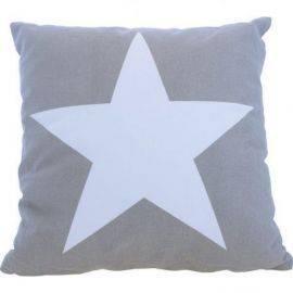 Pude model stor stjerne grå 40 cm 100% bomuld