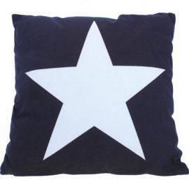 Pude model stor stjerne marine blå 40 cm 100% bomuld
