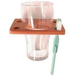 Glas og tandbørsteholder teak