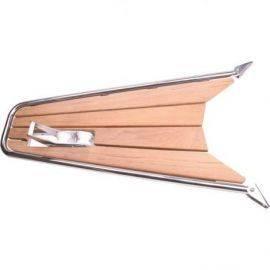 Stævnplatform med teak & ankerrulle 115x52cm ø32mm rør