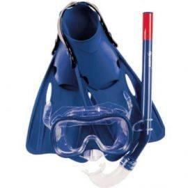 Dykkersæt barn maske snorkel & svømmefødder blå str 35-38