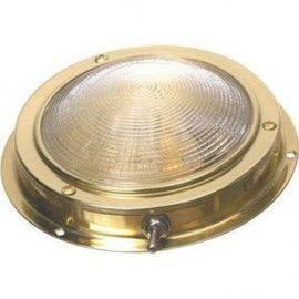 Lofts lampe messing 12V glas Ø127 mm, total Ø170 mm