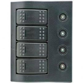 1852 Elpanel m/automat sikringer, LED, 3 kontakter + 1 (on)