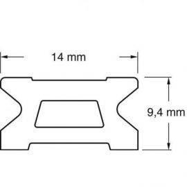 Skødeskinne 14mm 2m serie 14