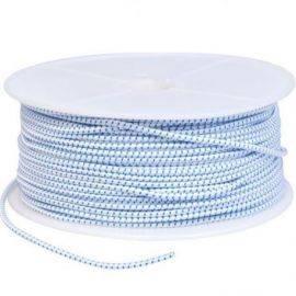 Elastiksnor hvid-blå  4mm