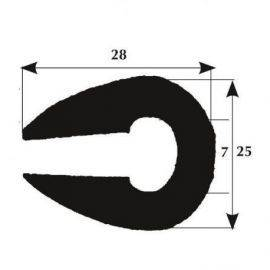 Fenderliste 28 x 25 mm sort