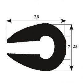 Fenderliste 28 x 25mm sort
