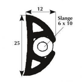 Fenderliste 25 x 12 mm sort