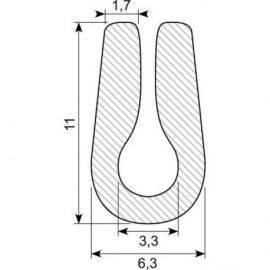 """Gummiprofil """"u"""" 6x13mm,3mm pl."""