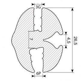 Rudegummi 6mm plade/3mm glas