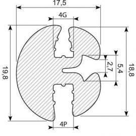 Rudegummi 4mm pl/4mm gl, brug 70.3222