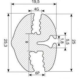Rudegummi 4mm pl-6mm gl