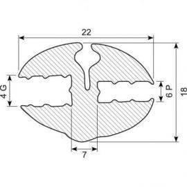 Rudegummi 6mm pl-4mm gl