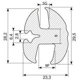 Rudegummi 9mm pl-5mm gl