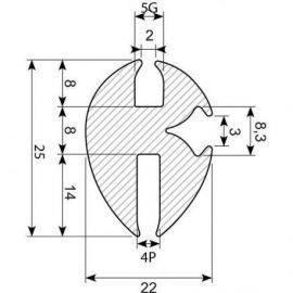 Rudegummi 4mm pl-5mm gl