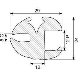 Rudegummi 12mm pl-5mm gl
