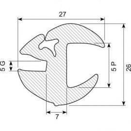 Rudegummi 16mm pl-5mm gl