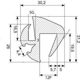 Rudegummi 12mm pl/5mm gl
