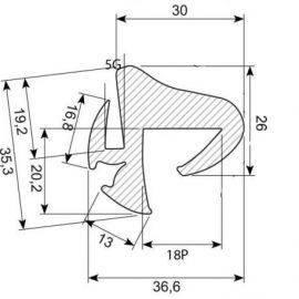 Rudegummi 19mm pl/5mm gl