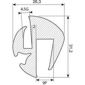 Rudegummi 9mm pl/5mm gl