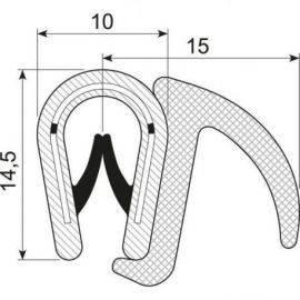 Kantliste m/læbe sort 1-4mm, brug 70.3304
