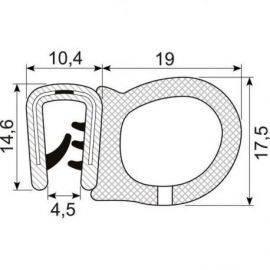 Kantliste m/slange sort 2-4mm, brug 70.3306