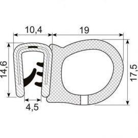 Kantliste m-slange sort 2-4mmh:16mm