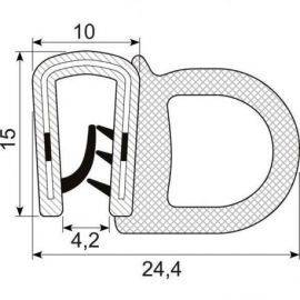 Kantliste m-slange sort 1-4mmh:16mm
